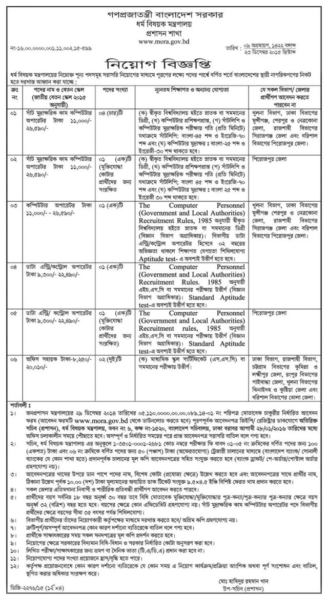 Jobs at Ministry of Religion Affairs Bangladesh